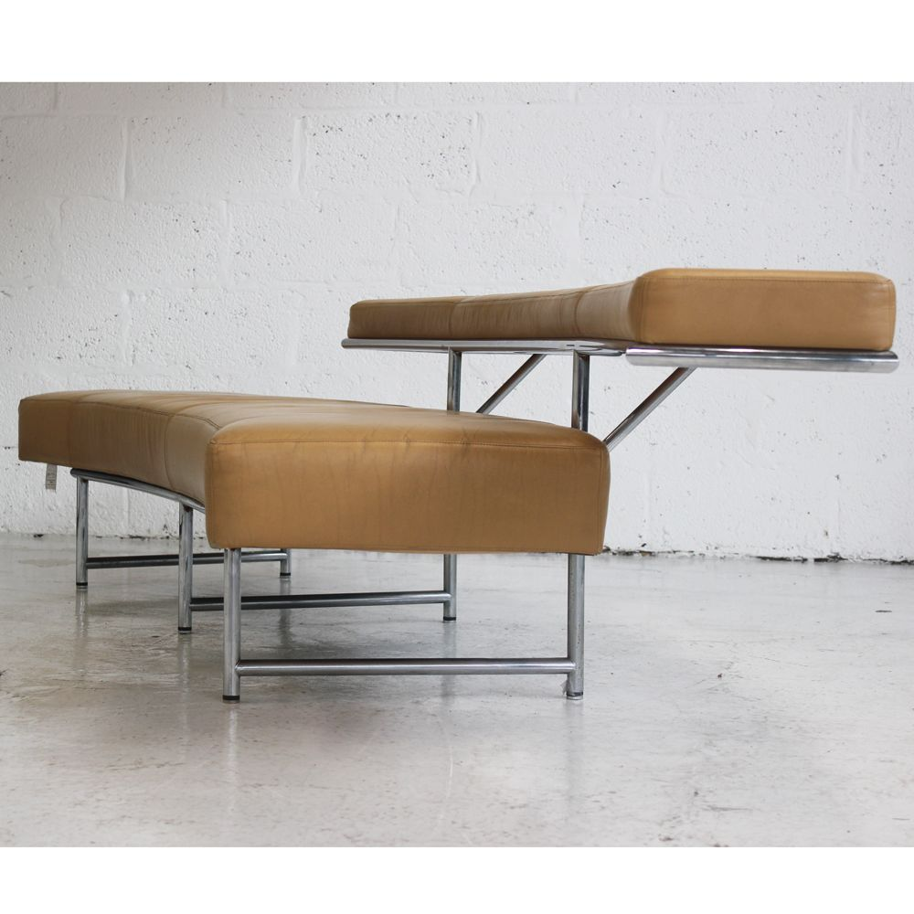 Monte Carlo Brown Leather Bench Two Tier Bench # Meuble Tv Carlo